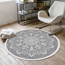 shacos baumwollteppich retro böhmische teppiche rund waschbar teppich grau 120cm rund mit quasten ideal für wohnzimmer büro usw