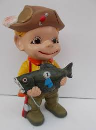 Atlantic Mold Ceramic Christmas Tree History by Vintage Ceramic Smiley Boy Fisherman With Prize Winning Fish