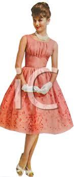 Royalty Free Clip Art Image Woman Wearing A Vintage Dress