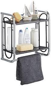 relaxdays chrom schwarz wandregal badezimmer badregal mit handtuchstange hängeregal mit 2 ablagen hbt 45 5x46x22 cm