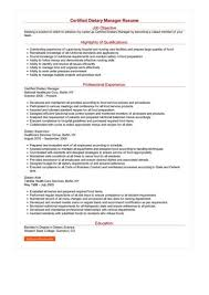 Certified Dietary Manager Resume Sample Best Format