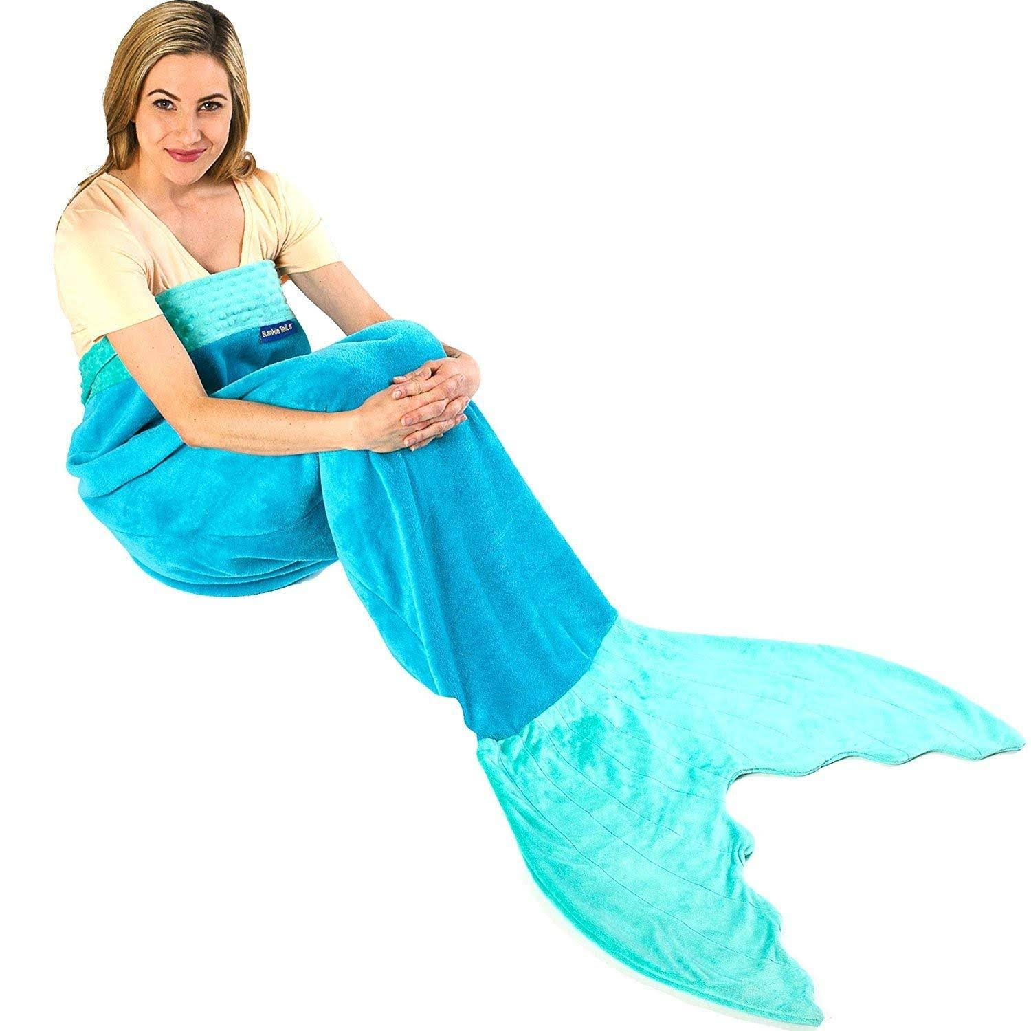 Blankie Tails Mermaid Tail Blanket - Ocean Blue, Youth Size
