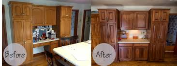 Restaining Kitchen Cabinets With Polyshades by Restaining Cabinets Before And After Memsaheb Net