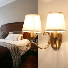 rustic 2 light fabric shade vintage wall sconces lighting