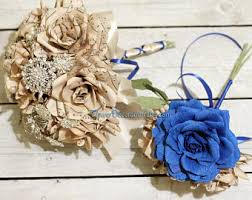 Paper Flowers Wedding Bouquet Brooch Bouquets By FlowerDecoration