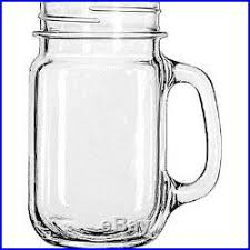 12 Mason Jar Style Glass Mug Set W Handle Drinking Glasses Rustic Bridal Wedding