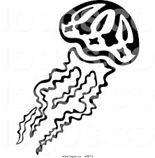 Royalty Free Clip Art Vector Logo of a Black and White Swimming Jellyfish