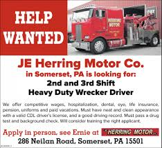 Heavy Duty Wrecker Driver, JE Herring Motor Co. Truck Driver Jobs In Pa Best 2018 Heavy Duty Wrecker Je Herring Motor Co Commercial Rolloff Drivers Apprentice Cdl Non Drivejbhuntcom Straight Driving At Jb Hunt Experienced Job Rources Roehljobs Ddw Trucking Facebook Hshot Trucking Pros Cons Of The Smalltruck Niche Cdllife Transco Lines Inc Team Lease Purchase And Get Mightyrecruiter Quick Apply Iws Transport Cdla Pladelphia Pa Linehire Erie