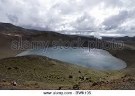 Crater Lake Under Clouded Sky Viti Explosion In Krafla Geothermal Area