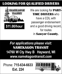Part-Time Drivers, Namekagon Transit, Hayward, WI Heres What Its Like To Be A Woman Truck Driver Hours Of Service Wikipedia Driving Jobs Vs With Uber Driver Job In Dubai How Truck Driver Detention Pay Dat Heartland Express Drivejbhuntcom Company And Ipdent Contractor Job Search At Selfdriving Trucks Are Going Hit Us Like Humandriven Parttime Drivers Namekagon Transit Hayward Wi Salaries For Fedex Reimer Bros Trucking Ltd Armstrong Bc Drivers Wanted Trucking Jobs