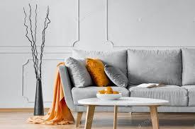 zweige neben einem sofa mit orange decke und kissen in einem wohnzimmer interieur echtes foto foto bialasiewicz auf envato elements