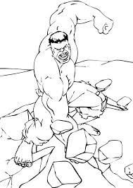Hulk Breaking The Rock Coloring Page