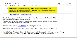 suspicious emails aol mail security