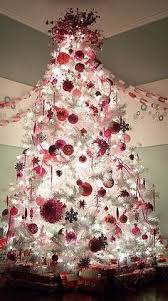 White Christmas Tree With Red And Silver Decorations 01