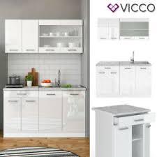 details zu vicco küchenzeile single einbauküche 140 cm küchen weiß hochglanz r line