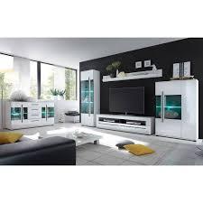 media wohnwand in weiß hochglanz und schwarzen relinggriffen colorado 61 vitrine inkl led bxhxt 255x200x47cm