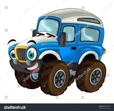 Cartoon Happy And Funny Off Road Military Truck Looking Like Monster ...