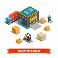 Wholesale Warehouse Storage Building With Forklift Wares On Pallets And Truck Goods Distribution Concept