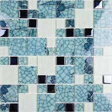 glass tile backsplash blue and white mosaic tiles crackle
