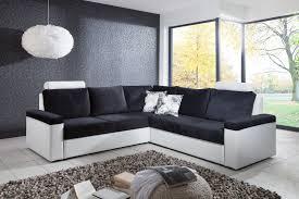 canapé d angle convertible design en tissu coloris blanc noir
