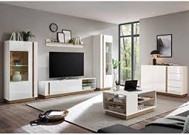 lomadox wohnzimmer wohnwand set in hochglanz weiß mit