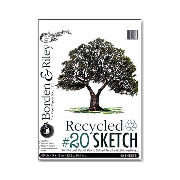 Borden & Riley - #20 Recycled Sketch Paper Pad - 9 inch x 12 inch - 50 Shts./Pad