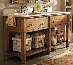 Rustic Double Sink Bathroom Vanity Under Two Framed Mirrors And Wooden Wall