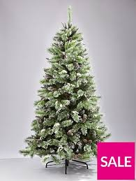 Christmas Tree Flocking Spray Uk by 7ft Artificial Flocked Christmas Tree With Pine Cones And White