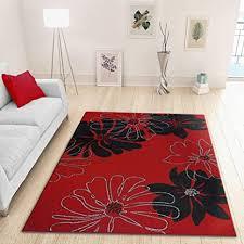 moderner roter teppich mit schwarzem blumenmuster 120 x 170 cm weich gewebt niedriger flor bodenteppich für wohnzimmer esszimmer oder