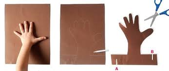 Steps Cut Your Kids Hand Print On A Brown Cardboard 2 Stripes At The Both Sides And Make Opposite Cuts B As Shown In Pic
