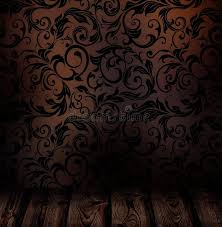 Download Dark Brown Wall With Vintage Patterned Silk Wallpaper Stock Image