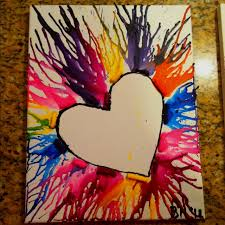 Melted Crayon Canvas Art With A Heart I Like This But Think Id Color The And Use Crayons In Complimentary Colors