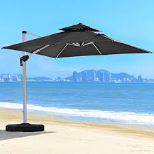 PURPLE LEAF 10 Feet Double Top Deluxe Square Patio Umbrella Offset Hanging Outdoor Market
