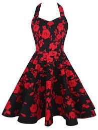 vintage dresses black and red 2xl halter floral print vintage