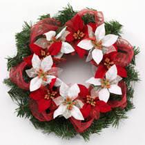 Christmas Craft Idea Poinsettia Ribbon Wreath