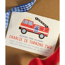 Fire Truck Themed Birthday Party Invitations Big Envelopes Online ...