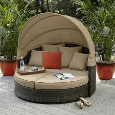 Grand Resort Patio Furniture by Grand Resort Monterey Half Moon Lounger With Canopy Neutral