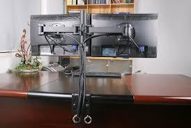 Imac Monitor Desk Mount by Awesome Wonderful Dual Monitor Desk Stand Organizer Design Ideas