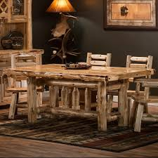 Cedar Lake Deluxe Solid Wood Log Dining Table Clear Finish Ladderback Side Arm Chairs