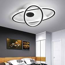 modern led ovale deckenleuchte mit fernbedienung schwarz