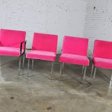 pink and chrome dining chairs by american of martinsville vintage