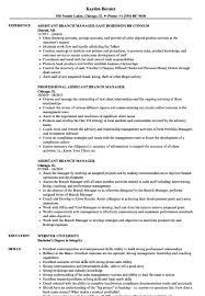 Assistant Branch Manager Resume Samples