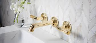 Unlacquered Brass Lavatory Faucet by Pinna Paletta By Laura Kirar Floor Mount Bath Filler Less