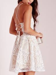 a line halter short white criss cross straps lace homecoming dress