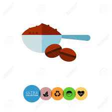Icon Of Metal Scoop Full Ground Coffee And Two Beans Stock Vector