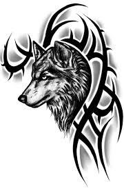 Black Tribal Wolf Head Tattoo Design