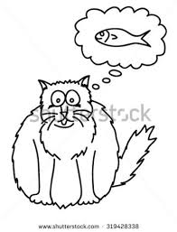 Fat Cat Thinking Stock Vector 319428338