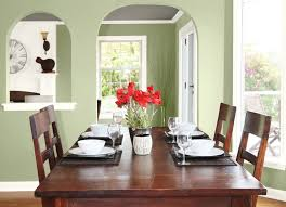 Dining Room Simple Sage Green Painted Wall With Dark Brown Wooden Table