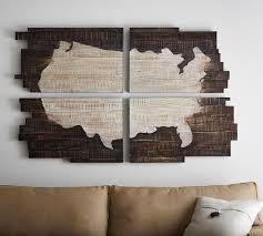Wood Usa Wall Map planked usa wall art panels pottery barn with