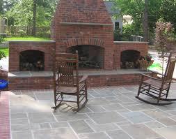 Backyard stone patio brick outdoor fireplace plans brick patio